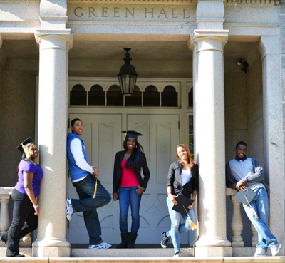 five students in front of Green Hall