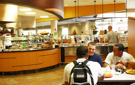 students dining in cafeteria