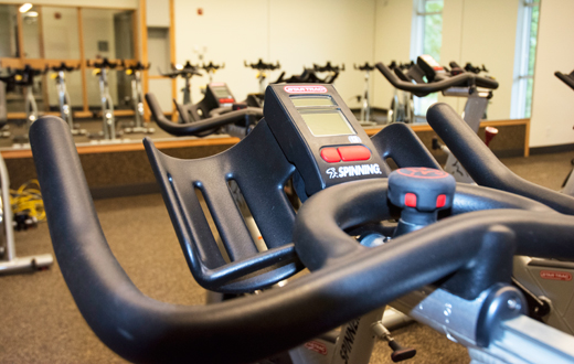 spinning bikes in fitness center
