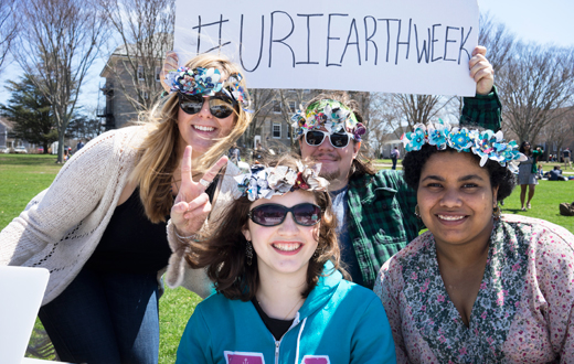 students posing on the quad at URI Earth Week event
