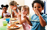 children eating healthy foods in school