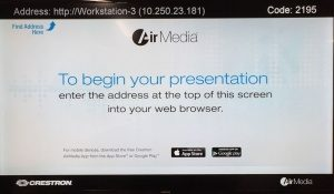 AirMedia website and access code displayed on AirMedia start page