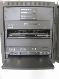 Laptop shelf is located at bottom of equipment rack
