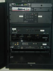 Laptop shelf is located near the bottom of equipment rack, directly above the drawer. Shown here with shelf pulled out.