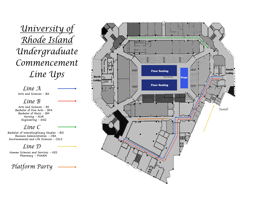 URI 2016 Commencement Line Up Map for the Ryan Center