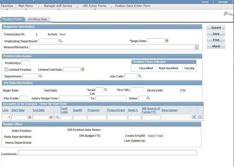 About The Online Position And Employee Action Forms