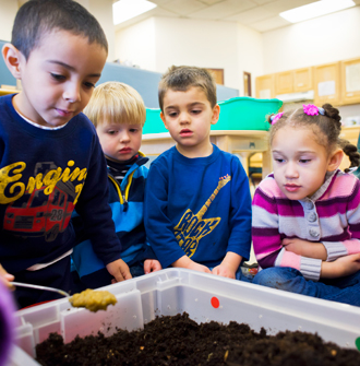 children looking at a soil experiment