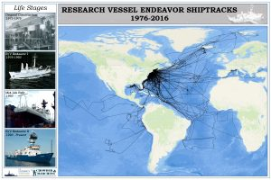 Chowder & Marching, GSO's student group, plotted Endeavor's shiptracks since 1976. Click for larger view.