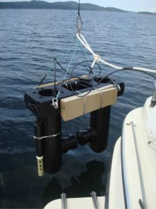 The HOLOCAM, a holographic camera system, is deployed in in East Sound, Washington, for a field test.