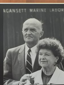 Photo of Charles and Marie Fish, attending the dedication of the Fish Oceanographic Laboratory. Photo from GSO archives.