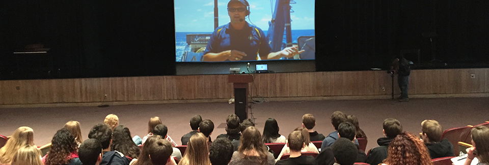 Mockup of a Nautilus Live interaction, featuring Inner Space Center Director Dwight Coleman on deck.