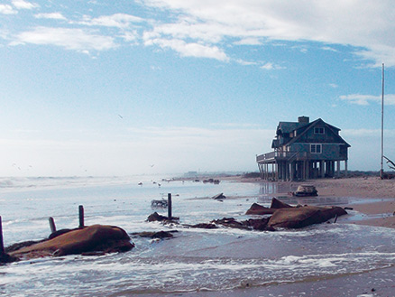 Flooded beach houses on the south shore of Rhode Island, in the aftermath of Hurricane Sandy in October 2012. Photo: Janet Freedman