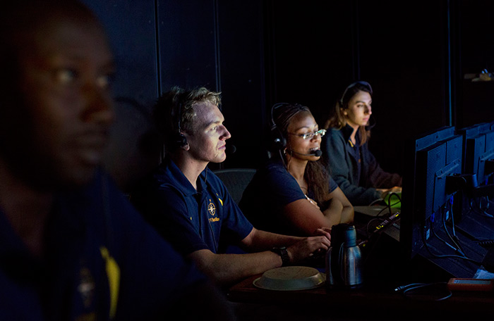 Students communicate with scientists on a recent cruise to the Caribbean.