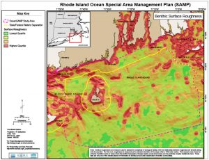 A chart, from the recently-completed Ocean Special Area Management Plan (Ocean SAMP), depicts surface roughness