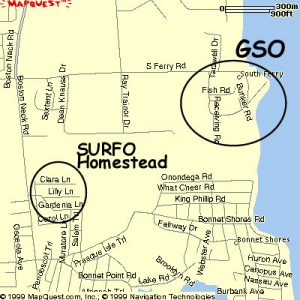SURFO houses in relation to GSO Narragansett Bay Campus.