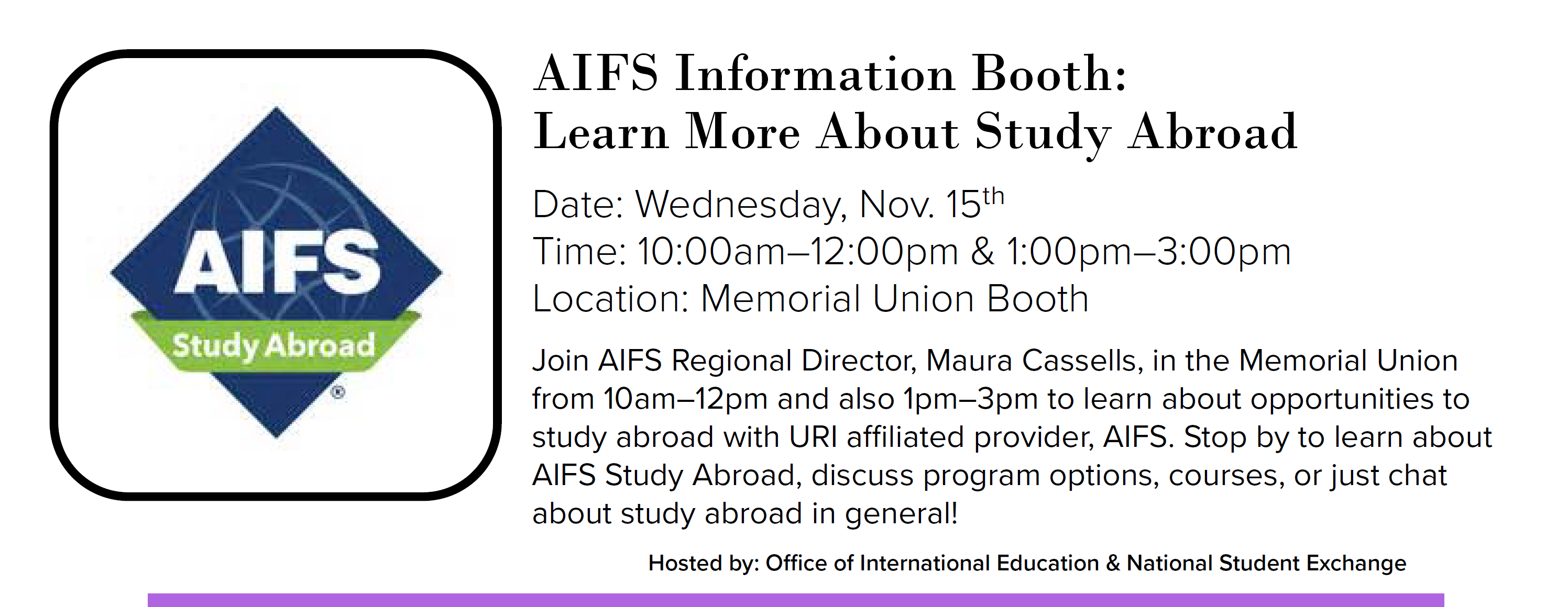 AIFS Info Booth Event