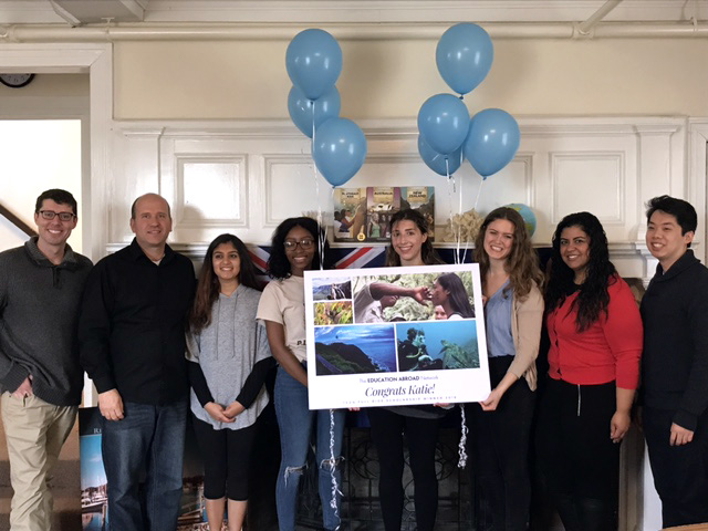The URI Office of International Education staff congratulates Katie after she has been informed that she is a 2018 TEAN Full Ride Scholarship recipient.