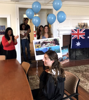 Katie is surprised as the URI Office of International Education staff informs her, on behalf of The Education Abroad Network, that she has been selected as one of the 2018 scholarship recipients.