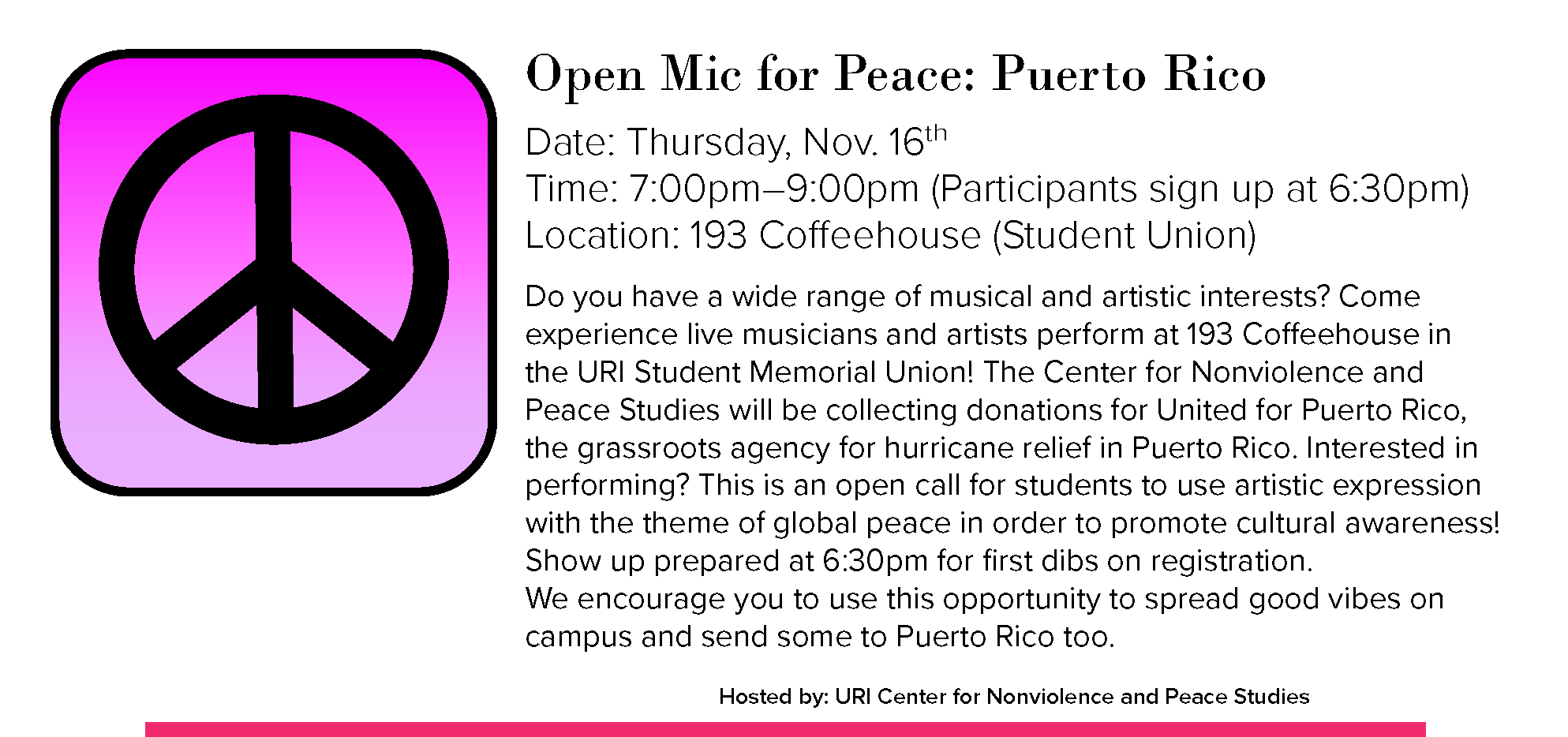 Open Mic for Peace: Puerto Rico Event