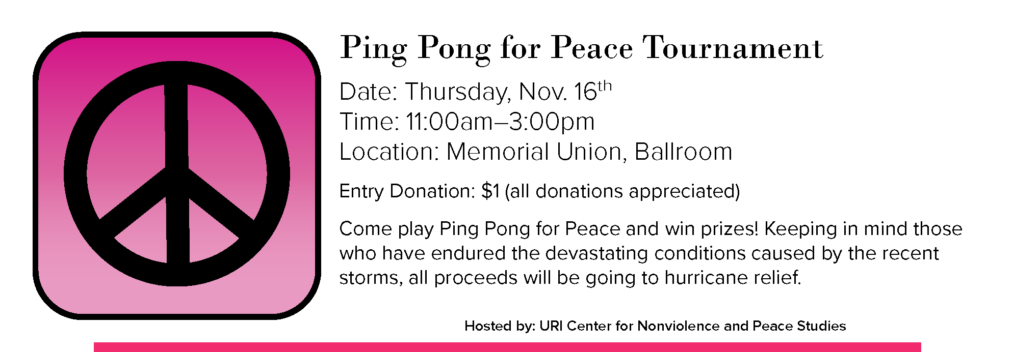 Ping Pong for Peace Tournament Event