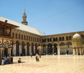 courtyard of mosque in Damascus