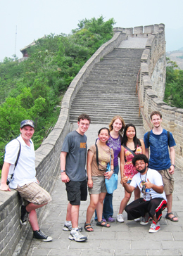group of students at the great wall