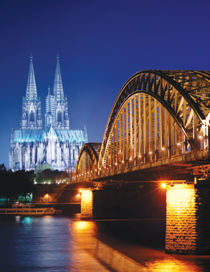 view of Cologne, Germany over the Rhine River