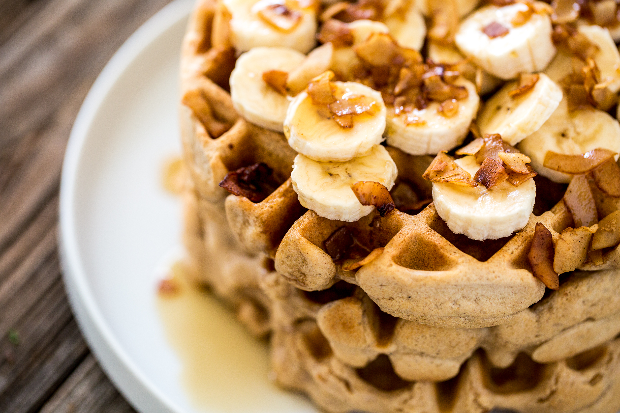 Bacon Banana Waffle Sandwich With Peanut Butter And Maple Syrup Maple