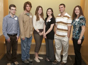 URI's 2012 Hollings Scholars (left to right): Michael Canton, Benjamin Sevey, Callie Veelenturf, Sarah Merolla, Brenton Wallin, Eilea Knotts