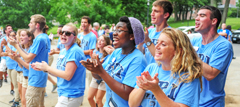 student leaders cheering at orientation