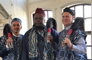 King Tchoua Kemajou Vincent of Bazou People of Cameroon visits URI College of Health Sciences Dean, Gary Liguori, & Center Director Paul Bueno de Mesquita