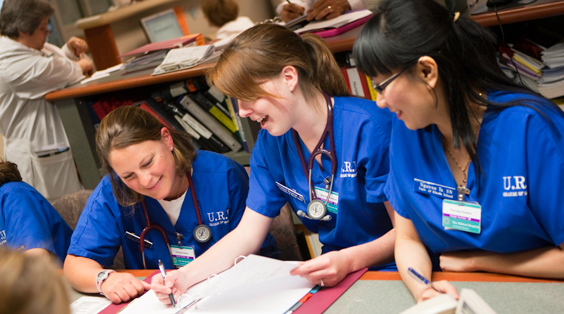 nursing students studying together