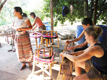 PT students weaving with Guatemalans
