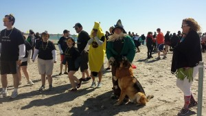 Sgt. Erica Vieira and K-9 Maxwell prepare for the Ocean Plunge for Special Olympics