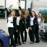 """""""This was an exciting opportunity that allowed us to showcase our marketing and presentation skills to real corporate executives,"""" says Alison Plunkett '17 of North Kingstown, to left. Next to her are Tara Larson of North Smithfield, Samantha Valenza of Plainview, N.Y, Taylor Burns of Cranston, and Kristina Cheamitru of North Smithfield."""