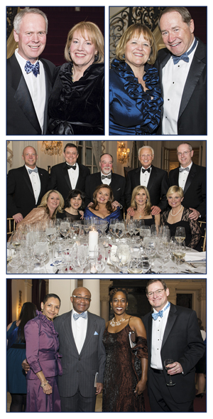 Top left: Honorary Chairs Stephen '76 and Laura Cunningham   Top right: Lynn Baker-Dooley and URI President David M. Dooley   Center: Toray Plastics (America) President and CEO Richard Schloesser, Janet Schloesser, with friends  Bottom: URI Vice President for Administration and Finance Christina Valentino, Earnest Okwara, URI Chief Diversity Officer Naomi Thompson, and URI Foundation President Michael Smith