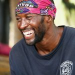 Jeremy Collins during a lighter moment, early in the taping of Survivor: Cambodia. On the show, as when he was at URI, his clothing shows he's a hometown guy.