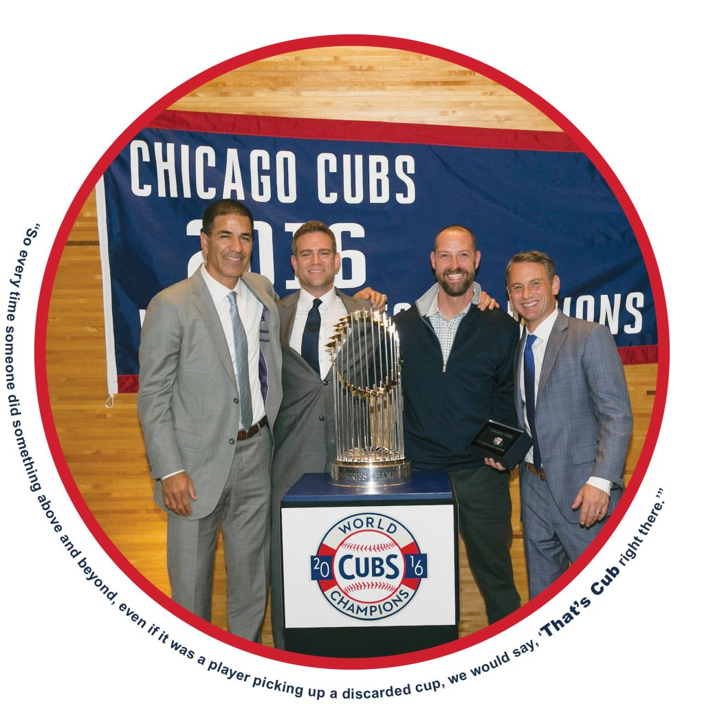 From left: Cubs Senior VP of Scouting Jason McLeod, President of Baseball Operations Theo Epstein, Lifrak and General Manager Jed Hoyer at the 2016 World Series Ring Ceremony.