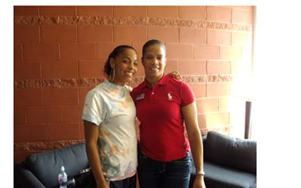 Me with April Holmes, U.S. Paralympic gold medal sprinter.