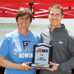 Shelagh Donohoe recieving her fourth A-10 Coach of the Year award.