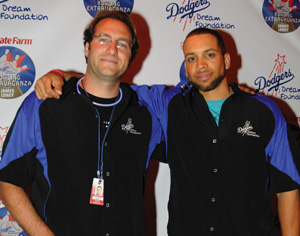 David Brennan, left, with James Loney, starting first baseman for the LA Dodgers, at the Dodgers Dream Foundation Bowling Extravaganza.