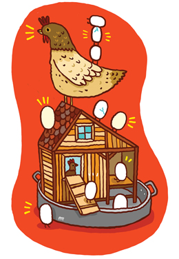 Illustration of a chicken on top of a chicken coop.