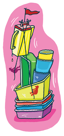Illustration of various tupperware containers.