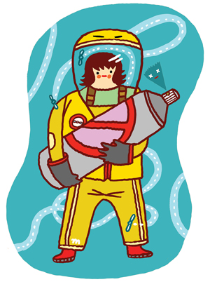 Illustration of woman in hazmat suit