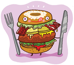 Illustration of a hamburger.