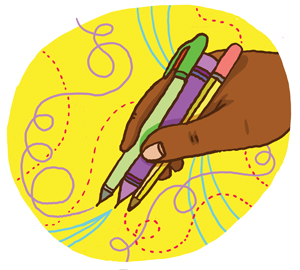 Illustration of hands holding a pen.