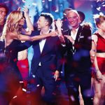 AMERICA'S GOT TALENT  Pictured at center of photo (left to right): Heidi Klum, Mat Franco, Howie Mandel
