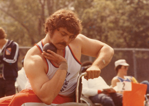 DePace readies himself before competing in shot put at a national wheelchair sports meet in the 1970s.