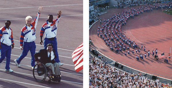 Two pictures of Paul DePace leading Team USA's athletes into the arena at the 1992 Summer Paralympics in Barcelona.
