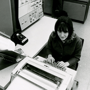 "The Computer Workforce  Computer programming was originally thought of as women's work—""it's just like planning a dinner,"" a 1967 Cosmo article assured readers, ""you schedule everything so it's ready when you need it""—and the field was small, restricted to universities and the large corporations that had the money, and space, for a huge mainframe.  Women's participation in computer science nationally has now dropped to 18 percent, according to research from Accenture and Girls Who Code. But the job market is huge and growing. Nationally, there were 500,000 computing job openings in 2015, according to the U.S. Bureau of Labor Statistics, and fewer than 40,000 computer science grads to fill them. In Rhode Island, nearly 1,700 computing jobs go unfilled with average salaries of $90,000, significantly higher than the average state wage of $52,000.  Photo above:  At the keyboard of URI's IBM 360, circa 1976."